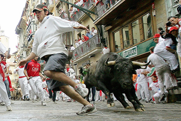 A runner avoids a Santiago Domecq bull, 07 July 2005, during the first 'encierro' of the San Fermin fair in the northern Spanish city of Pamplona,