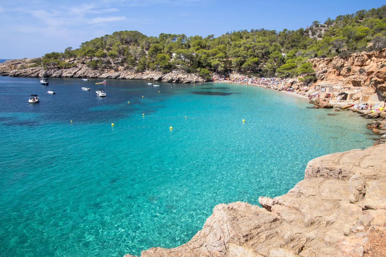 Famous Cala Salada beach on Ibiza island, Spain