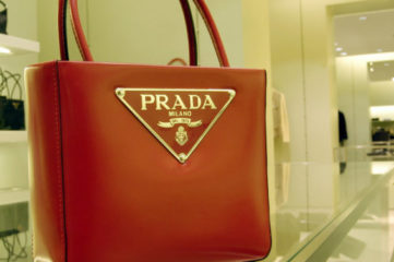 ROME - JANUARY 20: A bestseller handbag is on display inside the Prada store on Via Condotti January 20, 2003 in Rome, Italy. (Photo by Franco Origlia/Getty Images)